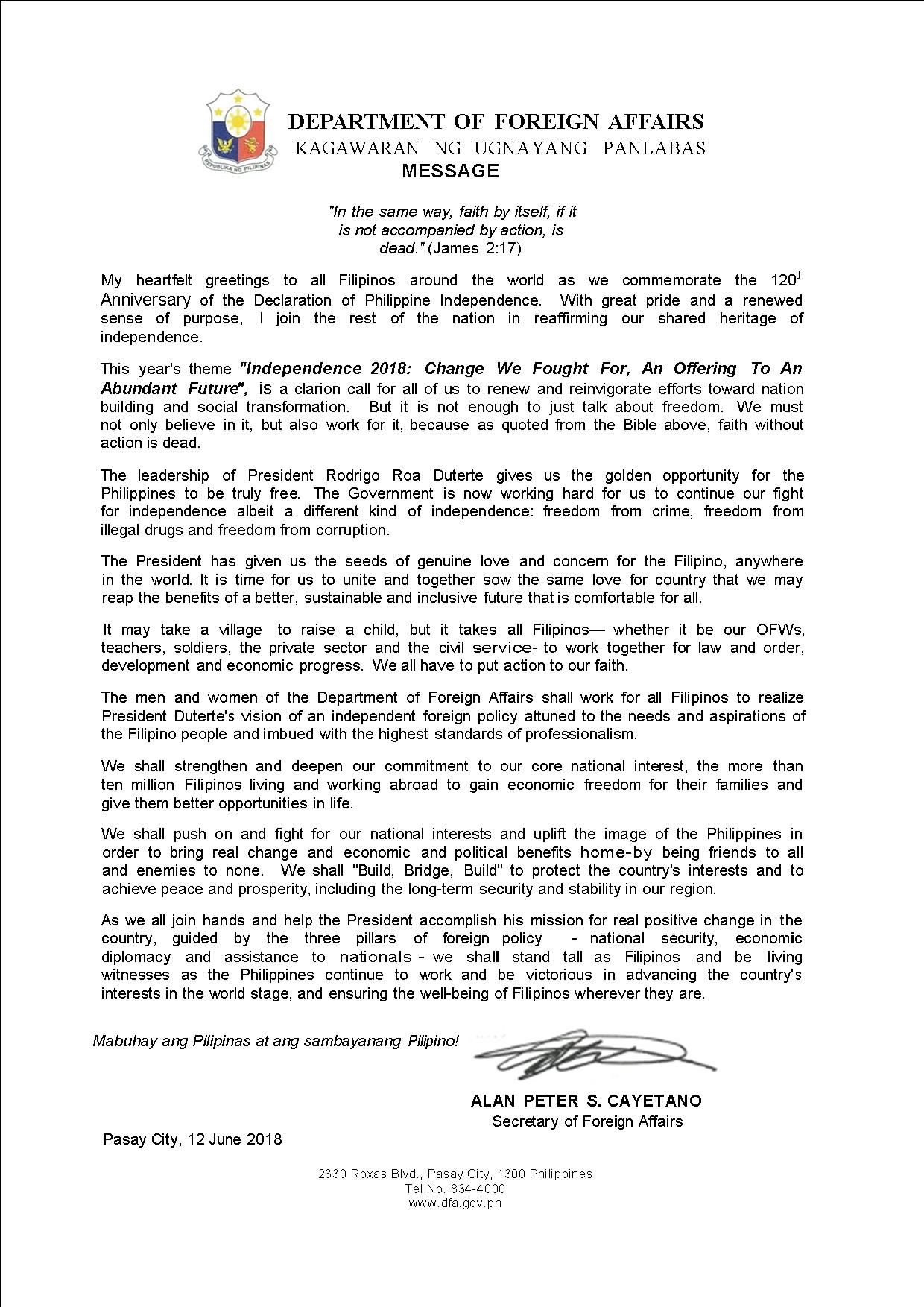 12 June 2018 : Independence Day Message of Secretary Alan Peter S. Cayetano