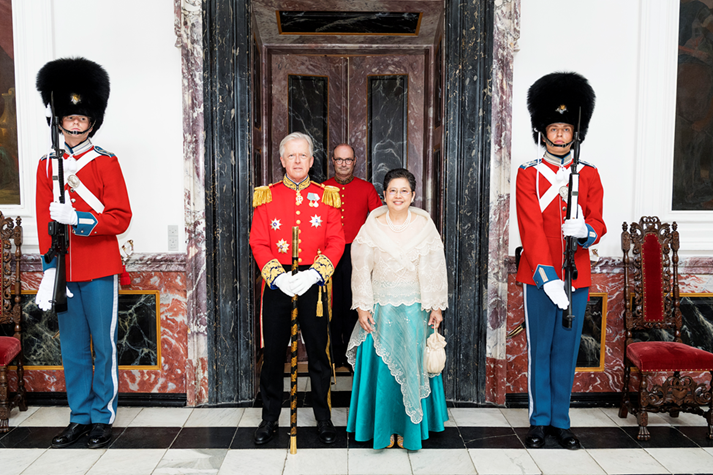 Ambassador Jocelyn Batoon-Garcia is welcomed by Chamberlain, Master of the Royal Hunt, Mr. Michael Iuel, at the Fredensborg Palace, prior to the Presentation of Credentials to Her Majesty, Queen Margrethe II of Denmark.