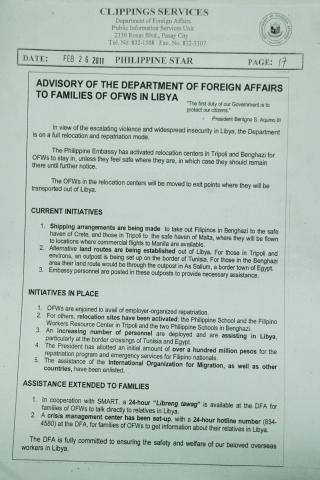 Advisory to the families of Overseas Filipino Workers (OFWs) in Libya