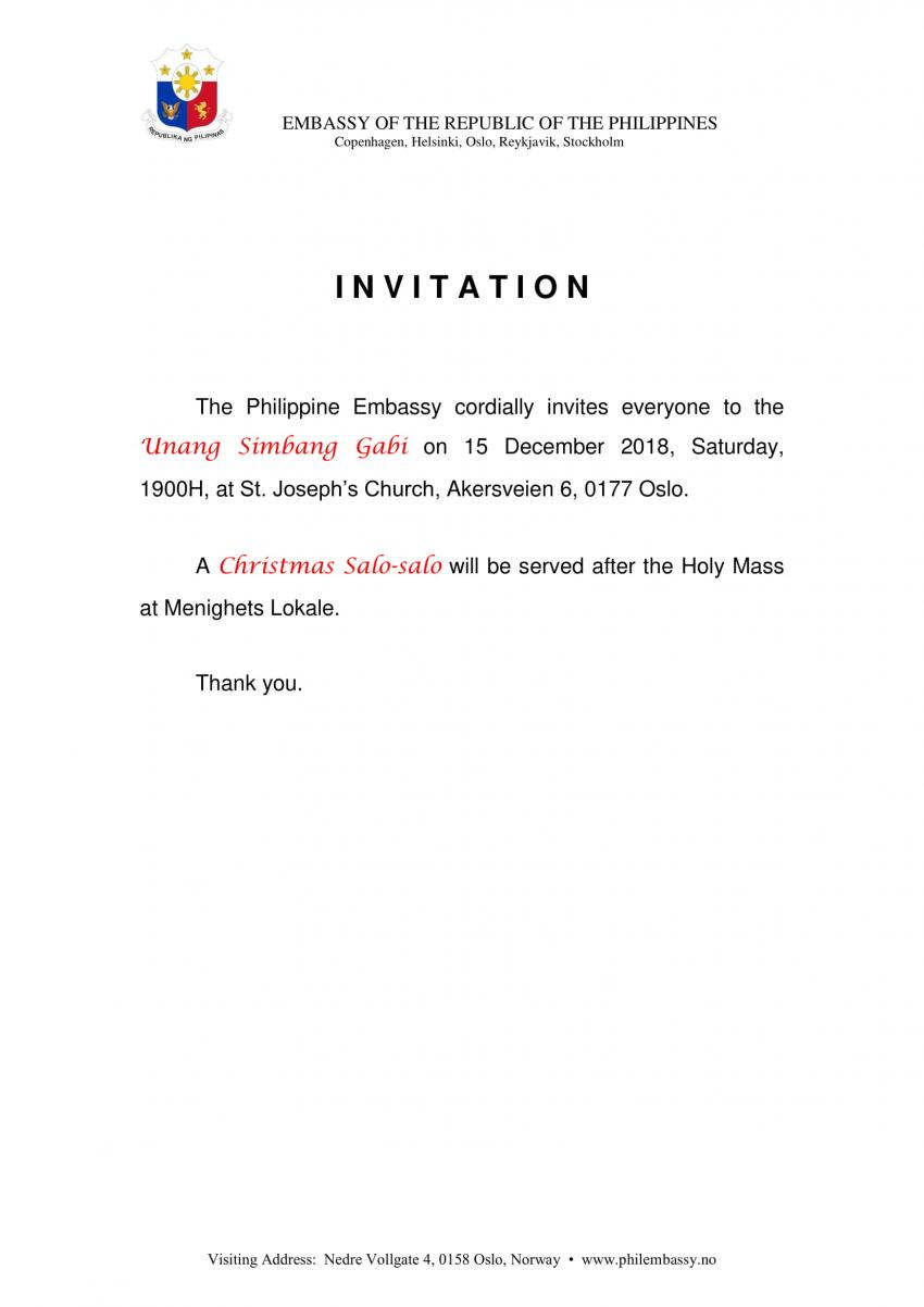 Invitation to Unang Simbang Gabi, 15 December 2018