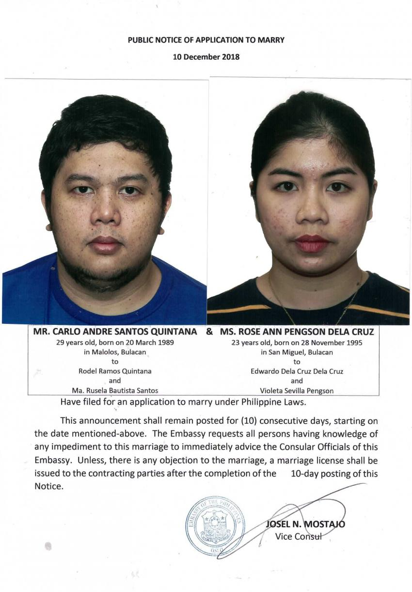 Public Notice of Application to Marry - Quintana, Carlo Andre Santos and Dela Cruz, Rose Ann Pengson