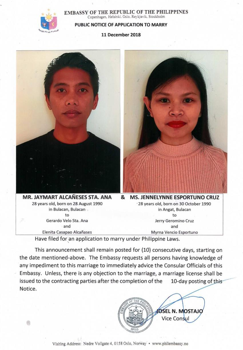 Public Notice of Application to Marry - Sta. Ana, Jaymart Alcañeses and Cruz, Jennelynne Esportuno