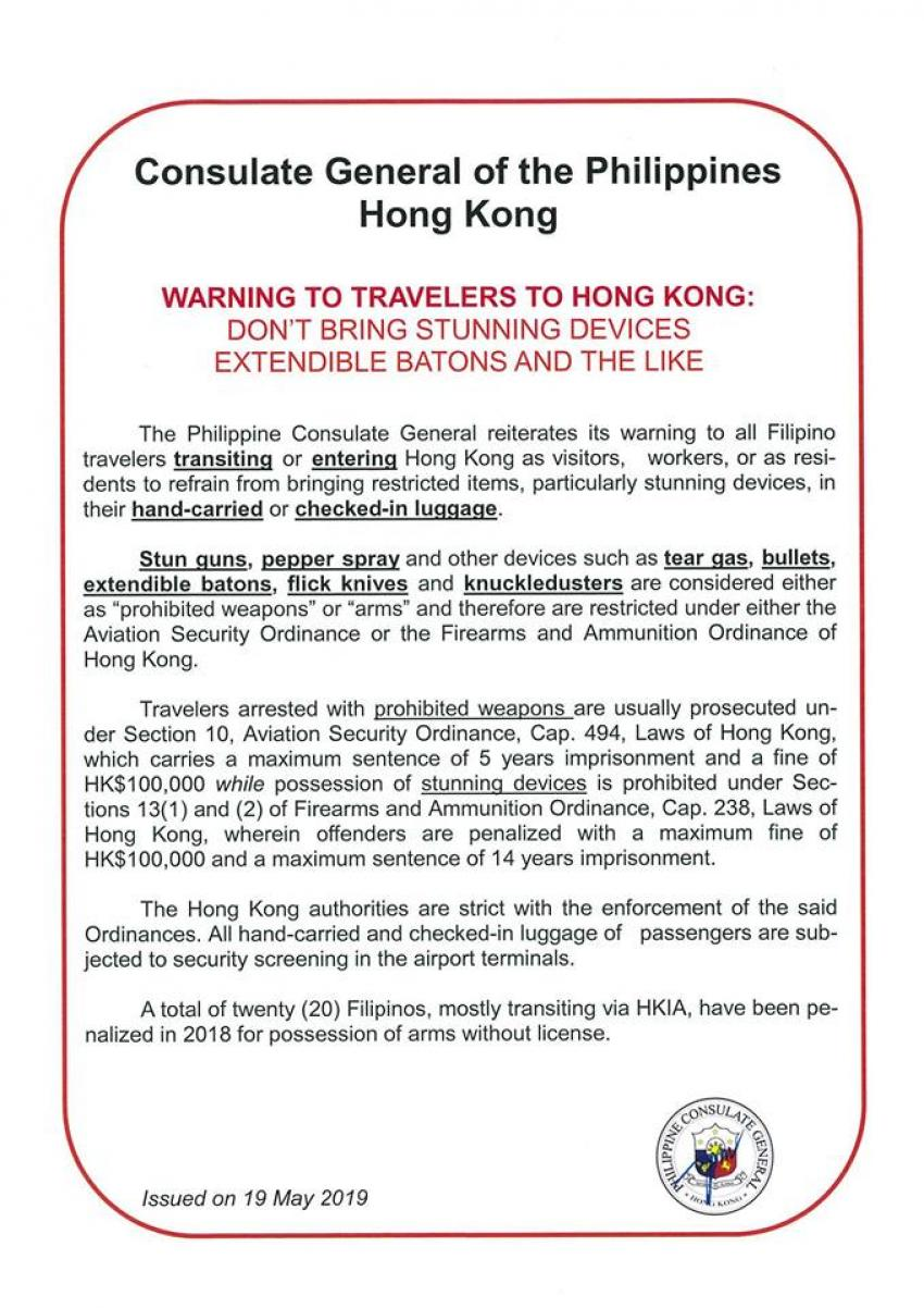 ADVISORY ON BRINGING RESTRICTED ITEMS TO HONG KONG