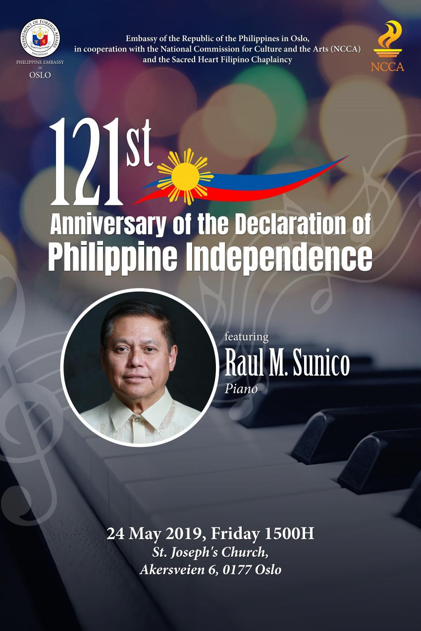 Invitation to a Piano Concert for the 121st Philippine Independence Day