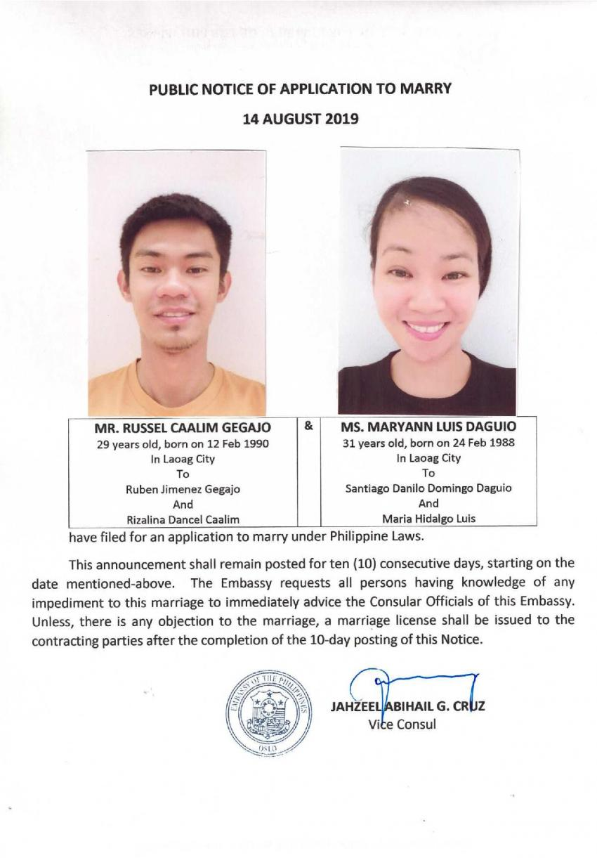 Public Notice of Application to Marry - Gegajo, Russel C. and Daguio, Maryann L.