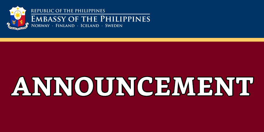 ANNOUNCEMENT ON THE PHILIPPINE EMBASSY'S NEW MAILING ADDRESS