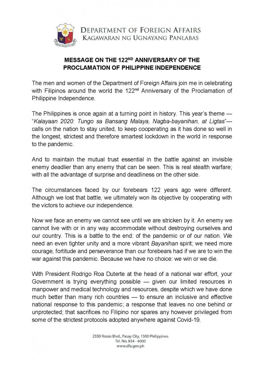 Message of Secretary of Foreign Affairs Teodoro L. Locsin Jr. on the occasion of the 122nd Anniversary of the Proclamation of Philippine Independence