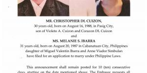 Public Notice of Application to Marry - Cuizon, Christopher D.L. and Ibarra, Melanie S.