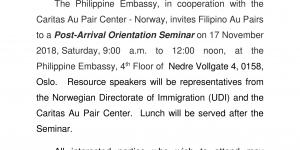 Invitation to a Post-Arrival Orientation Seminar for Filipino Au Pairs, 17 November 2018