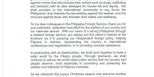 Holiday Message of Secretary of Foreign Affairs Teodoro L. Locsin, Jr.
