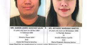 Public Notice of Application to Marry - Salin, Aaron James S. and Santos, Aeyadee M.